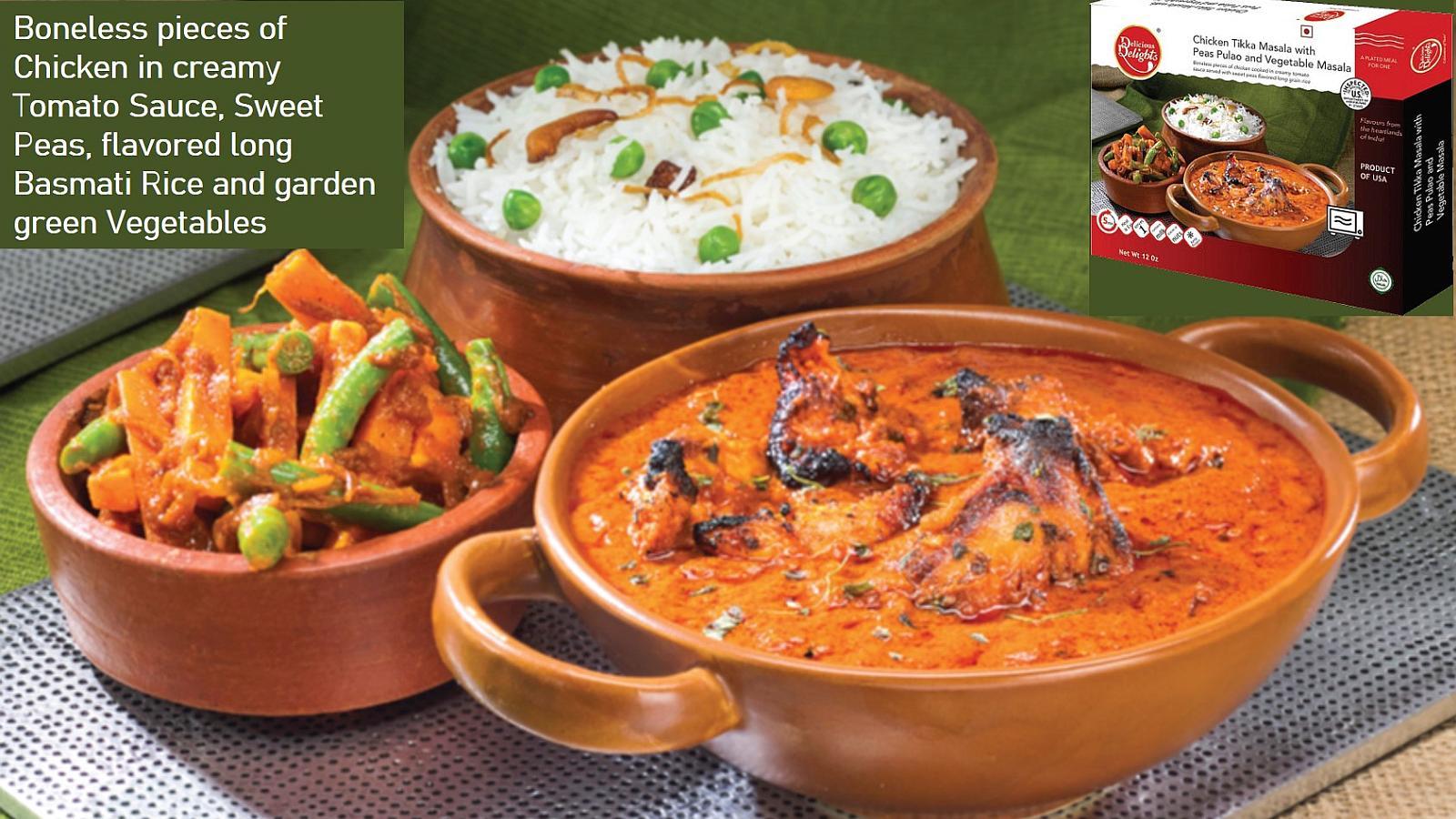 Basmati Peas Pulao - Chicken Tikka Masala - Vegetable Masala